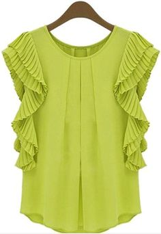 278f889cb7b2c chartreuse frill sleeve top Blouse Styles