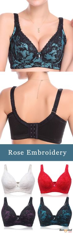 Sexy Dark V Rose Embroidery Lace Thin Brassiere Luxurious Underwire Adjusted Push-Up Bra For Women. women bra, wireless bra, lace bra, bandeau bra, push up bra, wonderbra, comfy vest bra, cami bra, plus size bras. Buy now! #Bra #Lingerie #Bralette #Underwear #Intimates #ColorBlocking #LaceBralette #Breathable #Gathering #Wireless #Push #Plunge #Adjustable #FullCoverage #Coverage