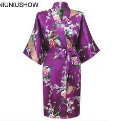 Top Vogue Purple Women's Silk Satin Bathrobe Novelty Kimono Gown Sexy Floral Sleepwear Free Shipping S M L XL XXL XXXL #Affiliate