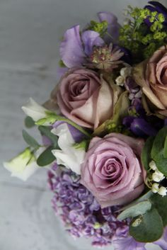 sterling and lilac rose bouquet | The Flower Magician: Antique Lavender Wedding Bouquet