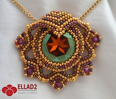 Tutorial Leia Pendant-Beading tutorial Instant by on Etsy Bead Embroidery Patterns, Beaded Embroidery, Beading Patterns, Art Patterns, Painting Patterns, Color Patterns, Swarovski, Beaded Jewelry Designs, Bead Jewelry