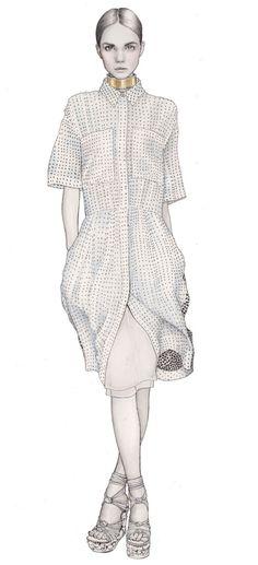 Fashion illustrator Hanna Müller. Watercolor crayon, pastel colours. Illustratrice de mode Illustrations dessinées à la main. Aquarelle pastelles. Boss, Madame Figaro, Krys