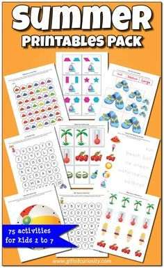 Summer Printables Pack with more than 70 summer activities and worksheets for kids ages 2-7. What a great pack for multi-age groups, and such fun graphics too! || Gift of Curiosity