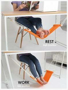 This unique hammock design replaces that extra chair you use to prop your feet up