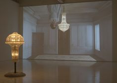 Matthew Buckingham (American, b. 1963). The Spirit and the Letter, 2007. Continuous video projection with sound, electrified chandelier, mirror. Dimensions variable. Courtesy of the artist and Murray Guy, New York