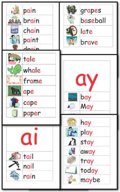 Create a print rich environment for your classroom with these 10 pages illustrating 34 Long A words from the a__e, ai and ay spelling patterns.  FREE