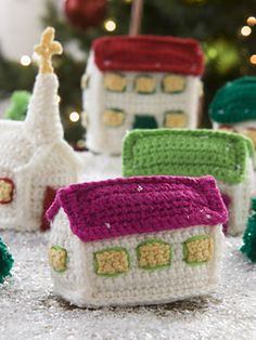 This small crocheted village adds nostalgic charm to your holiday decorating. Use it on the mantel, with a train set or on an entry table. Children will enjoy playing with this village without fear of breaking anything!