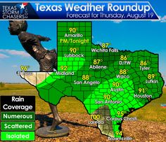 Rain chances continue today and through the weekend as another cool front enters Texas. It won't rain everywhere all the time, but localized heavy rains are possible. Strong to severe storms are possible this afternoon and this evening across the eastern Texas Panhandle. Another tidbit of good news is that below-average temperatures continue this weekend. Make it a great Friday!! #txwx   http://texasstormchasers.com/?p=46455