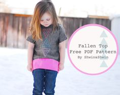 The Fallen Top {Free PDF Pattern}.. The top is loose and comfy and buttons down the back. (I love buttons) I would say it is size 3T/4T Abbey is right in between those, she is pretty slim, in the arm and chest so if you are concerned about fit, I would just measure or compare the pattern to a top that fits to see if you need to add any room.The cutting instructions are printed on the pattern...