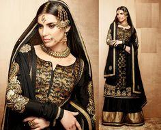 Black Pure Banarasi Jequared Lehanga Kameez [Also on http://www.natashacouture.com/Products/Natasha-Women-Lehenga-Cholis/Natasha-Couture/Black-Pure-Benarasi-Jacquard-Sharara-KR801/pid-7796490.aspx]