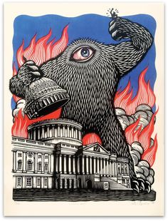 Peter Nivens ~ CONGRESS BAD!!! ~ Woodcut, 18 x 24 inch >>> Oh, by all means. Have yourself a field day....