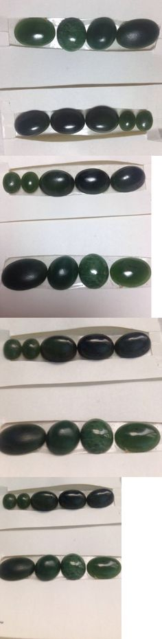 Other Jade 10231: Lot Of 9 Assorted Green Jade Genuine Stones Cabochons From 10X8mm To 18 X 11Mm BUY IT NOW ONLY: $45.0