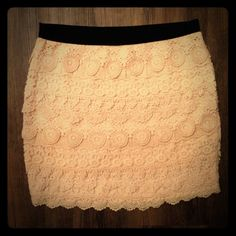 Brand new lace skirt Size Medium Beautiful white-cream lace skirt, stretch and tight, very elegant. Never worn, they didn't have my size, I wanted it very much, so I bought it. But it's too big for me:( Forever 21 Skirts