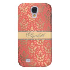 Gilded Peach Elegant Faux Shimmer Damask Samsung Galaxy S4 Cover