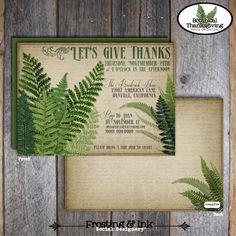 Thanksgiving Invitation - Botanical - Fern Leaf Invitation & Wrap Around Address Labels - Customized Printable (Vintage Inspired). $20.00, via Etsy.