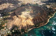 Diamond Head Hawaii  Oahu's largest tuff cone formed over 100,000 years ago by an active bubbling volcano.