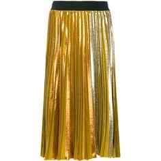 Nude mid-length pleated skirt (1,575 PEN) ❤ liked on Polyvore featuring skirts, nude, pleated mid length skirts, knee length pleated skirt, high rise skirts, brown skirt and brown pleated skirt