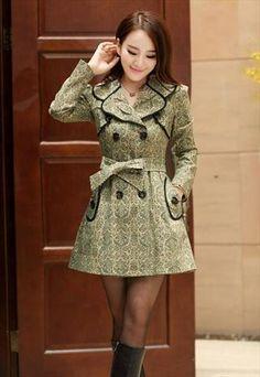 2 colors black beige trench coat dress unique style sale h261 $127.00 AUD