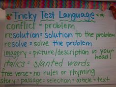 Anchor charts on Tricky Test Language#Repin By:Pinterest++ for iPad#