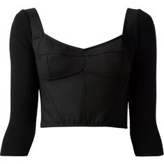 DOLCE & GABBANA cropped top ($1,025) ❤ liked on Polyvore featuring tops, shirts, crop tops, long sleeves, three quarter sleeve tops, long-sleeve shirt, 3/4 sleeve shirts, cropped long sleeve shirt and crop shirt