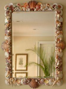 Coastal Shell Creations.... Beautiful entryway mirror.  @elegantshells