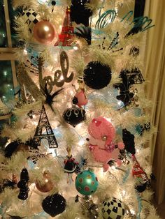 close up view of Paris themed Christmas Tree 2014