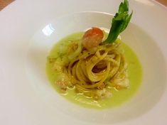 Spaghetti scampi e zenzero con crema fredda di sedano al naturale ( - )