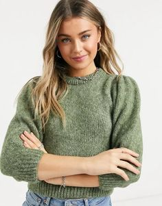 Only chunky knit sweater with balloon sleeves in brushed green knit Asos, Sweater Shop, Jumper, Pulls, Latest Trends, Balloons, Turtle Neck, Balloon Sleeves, Knitting