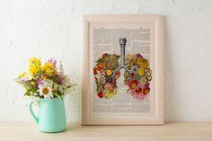 Flowery Lungs human Anatomy Print on dictionary. Anatomy art