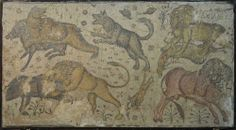 An Ancient mosaic showing Lions, still in the condition it was found. It was found in Damascus, Syria.Date: Romans circa 50 A.D-140