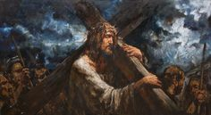 """Bearing the Cross"". 160х300 cm, oil on canvas, 2014. Anatoly Shumkin."