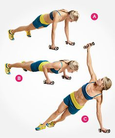 Dumbbell T-Push-Up  Place a pair of dumbbells (preferably hex dumbbells) on the floor about shoulder-width apart. Start in a pushup position and grab the dumbbells(A). Perform a pushup while holding the dumbbells(B).As you press back up, rotate your body to the right and pull the dumbbell in your right hand up and above your shoulder. In the top position, your right arm should be straight and your body turned to the side so that you form the letter T(C).