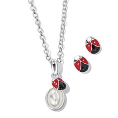 Spring-Themed Ladybug Necklace and Earring Gift Set I Love Jewelry, Photo Jewelry, Jewelry Gifts, Stocking Stuffers For Her, Necklace Online, Pearl Pendant, Ladybug, Avon Sales, Sales Representative