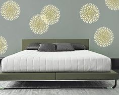 modern stencils designs   Modern CHRYSANTHEMUM Wall STENCIL, EASY, Reusable Interior Wall Design ...