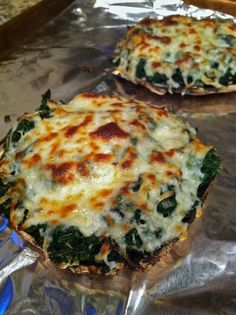 Cheesy Spinach Stuffed Portobello Mushrooms- this was FABULOUS!! We used kale and cottage cheese in place of spinach and ricotta. We also grilled rather than baked this dish.