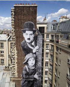 Harold Lloyd, Charlie Chaplin, Collages, Street Art Utopia, Jr Art, Collage Techniques, Paris Ville, Paris Photos, City Art