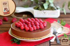 Cheesecake de chocolate negro con frambuesas