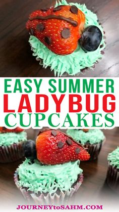 This week we had a taste of 70-degree weather and now I'm excited about spring! We were outside enjoying the sun when my daughter found a ladybug. She is absolutely obsessed with ladybugs. That's why I put together these easy strawberry ladybug cupcakes recipe. They bring in the fresh fruit perfect for spring and summer. We have an entire strawberry garden in our backyard. We started it with just 4 plants and it's grown to more than 30 in the last 2-3 years. | @journeytoSAHM #summertreats Homemade Desserts, Best Dessert Recipes, Cupcake Recipes, Fun Desserts, Baking Recipes, Delicious Desserts, Educational Activities For Toddlers, Parenting Toddlers, Parenting Hacks
