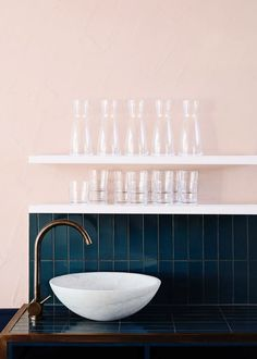 Bathroom Inspiration | love the contrast between the light pink and jewel toned blue