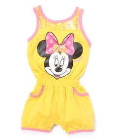 87ea9ca874c3 Love this Yellow  amp  Pink Minnie Mouse Romper - Infant by Minnie Mouse on