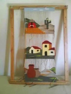 Telar Bastidor Para Tapiz Regulable 40 X 60 Cm Weaving Yarn, Tapestry Weaving, Wall Tapestry, Hand Weaving, Diy And Crafts, Arts And Crafts, Diy Y Manualidades, Weaving Projects, Tear