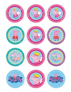 INSTANT DOWNLOAD Peppa Pig 2 Inch Circles por MagicalParty en Etsy