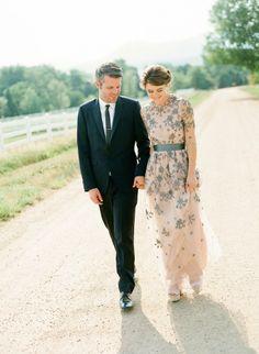 inspiration | pastel hued wedding gown | via: grey likes weddings