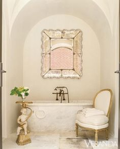The bohemian look throws all the interior decorating rules out the window. When you embrace boho home decor, you get to decorate however you want. This style is relaxed and unique, and relies heavily on styles from different cultures. Home Design, Bath Design, Boho Home, Venetian Mirrors, Beautiful Bathrooms, Romantic Bathrooms, Beautiful Mirrors, House Beautiful, Beautiful Homes