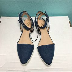 Host Pick Denim ankle strap pointy flats Trend Driven Party Host Pick!! Brand new no shoebox Shoes