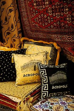 Greece, Athens, Pillows and fabrics for sale in market