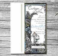 Alice in Wonderland Custom Invitation and coordinating Thank You Cards   Blue Egg Events
