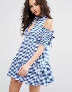 Cute Blue Missguided Cold Shoulder Gingham Dress - Spriing Summer Women's Fashion Style Outfit Clothes