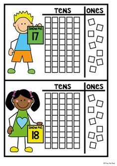 Place Value Write n Wipe Cards / Building Mats Math Strategies, Math Resources, Math Activities, Math Games, Teen Numbers, Math Numbers, Math Place Value, Place Values, Math For Kids
