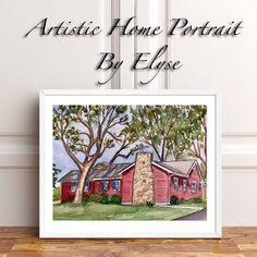 Custom house portraits in watercolor paint. Watercolor Artwork, Watercolor Portraits, First Home Gifts, Realtor Gifts, House Gifts, House Drawing, Painting Frames, That Way, House Paintings